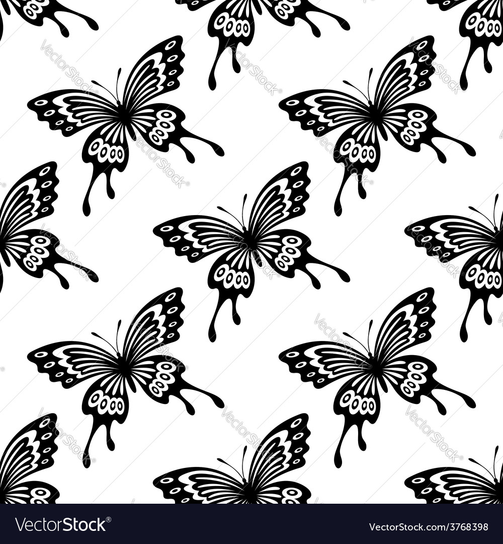 Seamless background pattern of flying butterflies