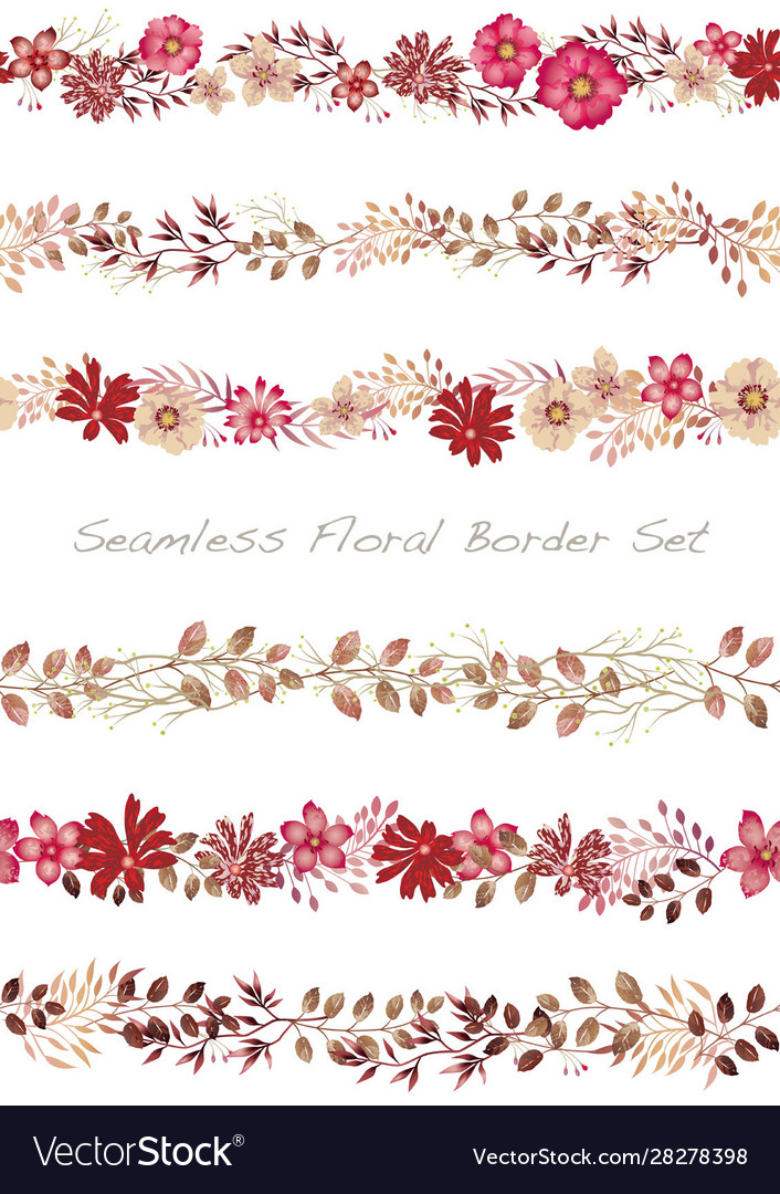 Seamless watercolor floral border set