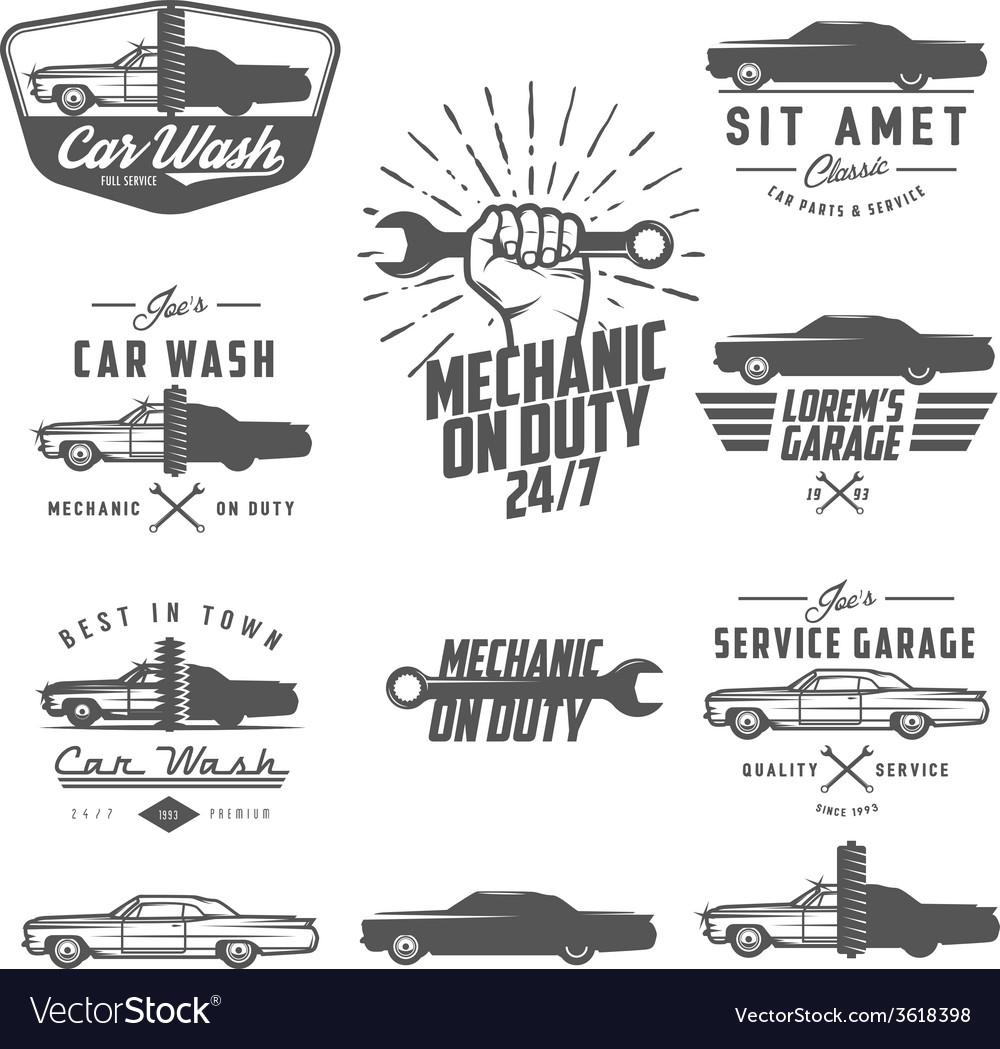 Set of car service labels emblems and logos