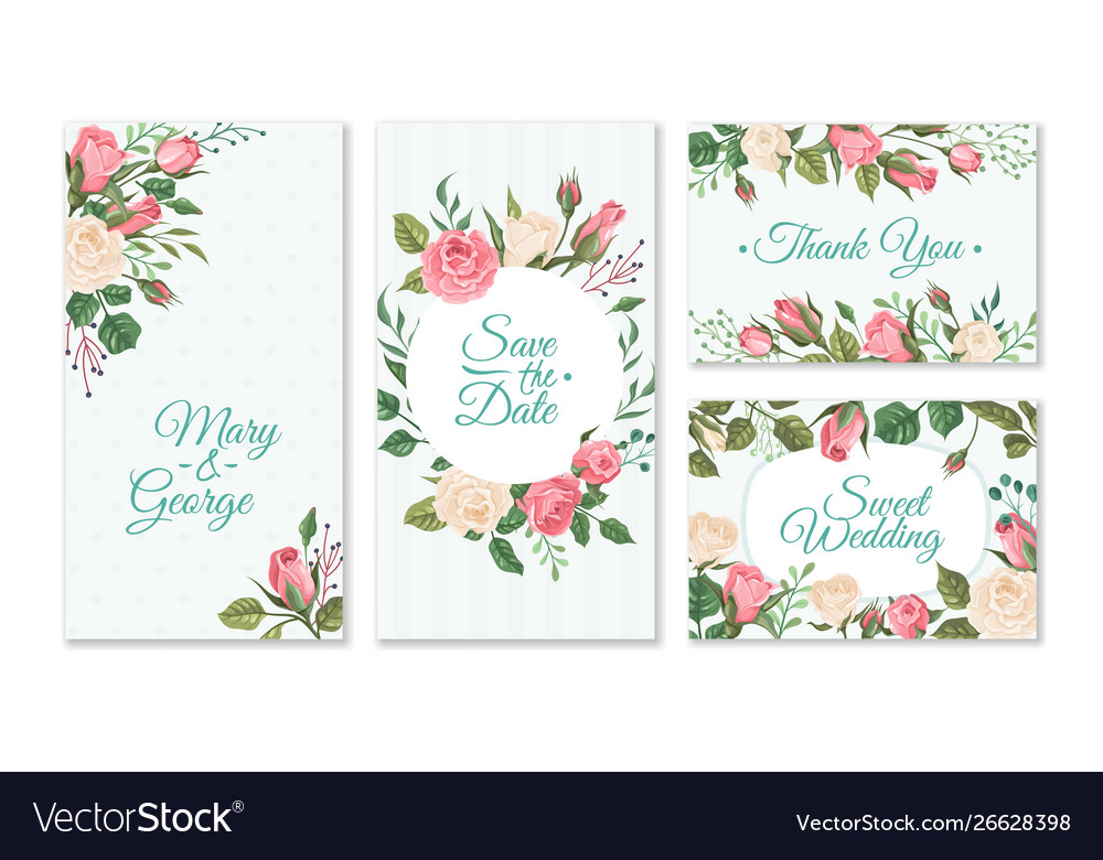 Wedding card with roses weddings floral