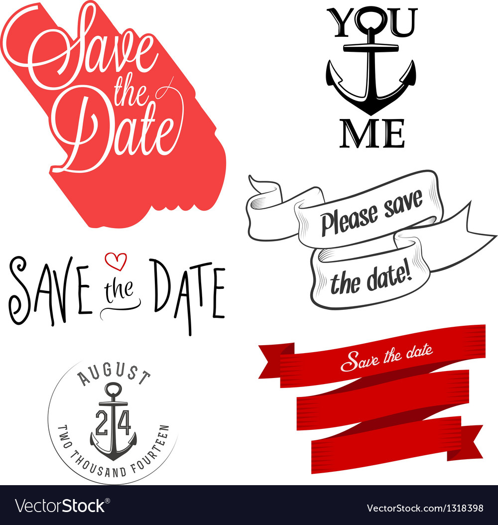 Wedding invitation typographic design elements vector image