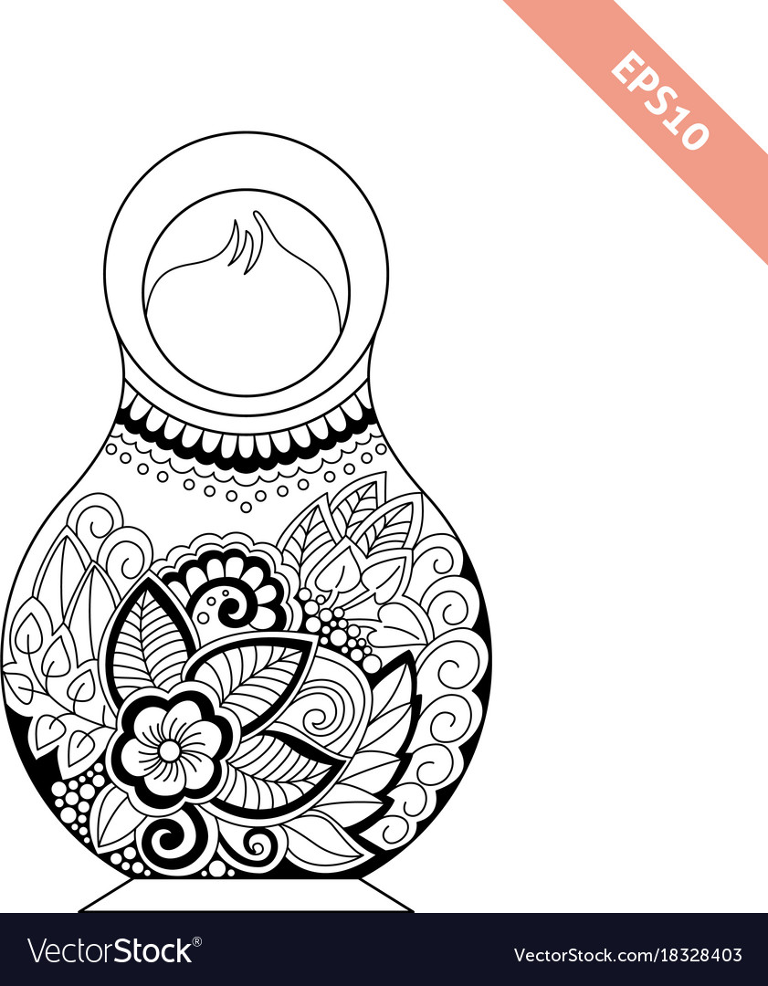 Black line nesting doll with floral ornament