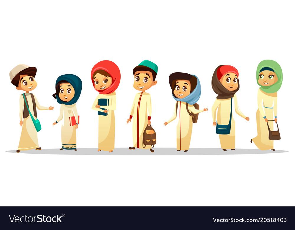 Cartoon arab muslim students in hijab set