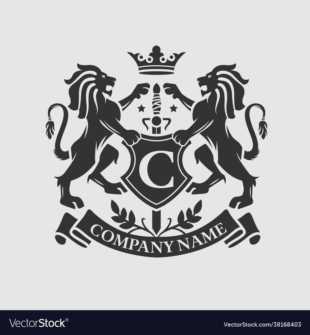 Coat arms lion crest design