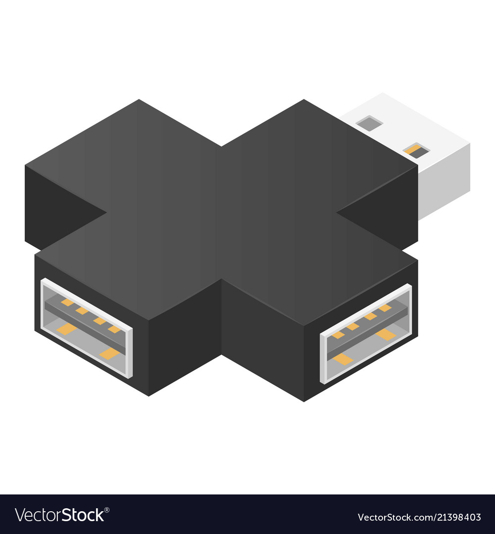 Cross usb hub icon isometric style