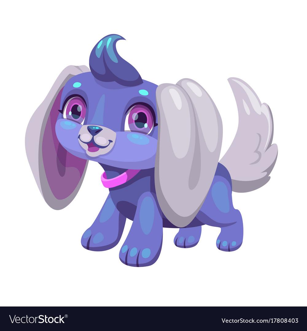 Cute blue cartoon puppy