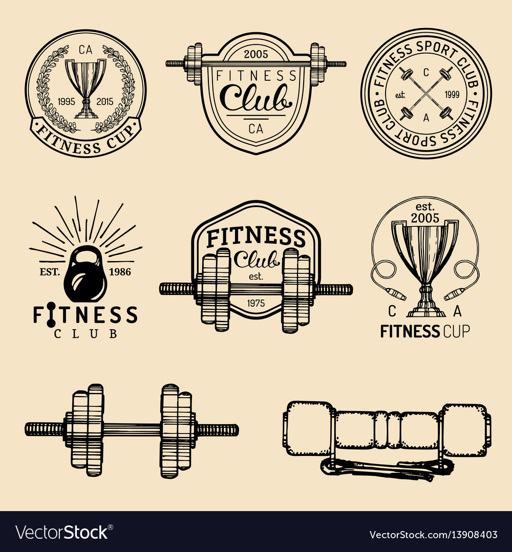 Fitness logos set hand sketched athletic