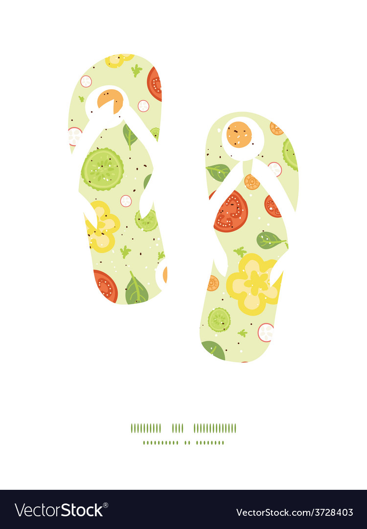 Fresh salad flip flops silhouettes pattern