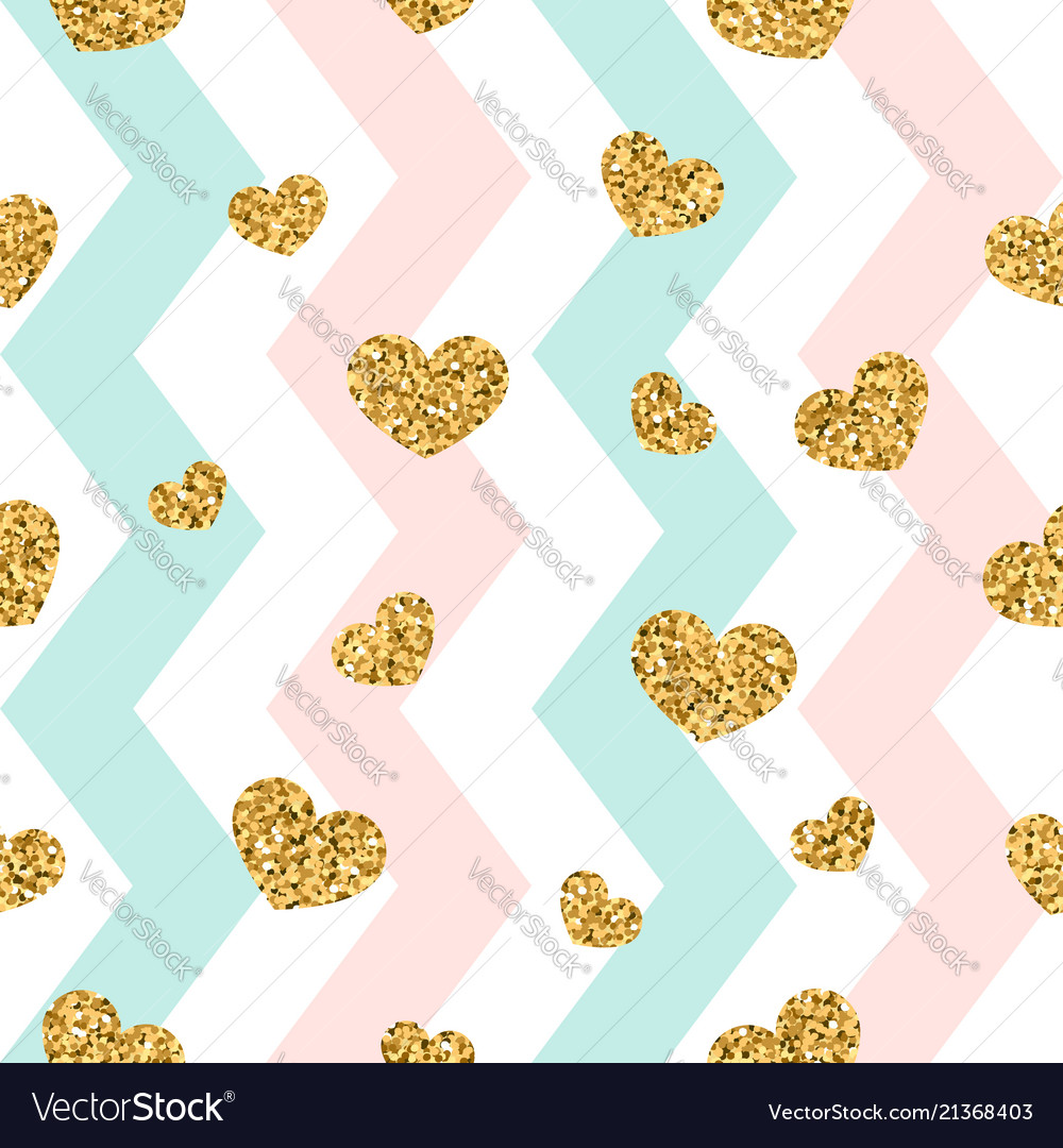 Gold heart seamless pattern pink-blue-white