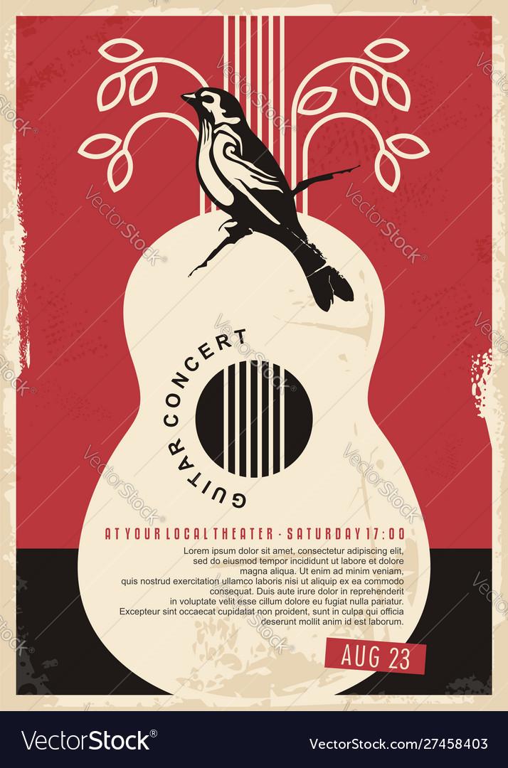 Guitar concert retro poster design for music event