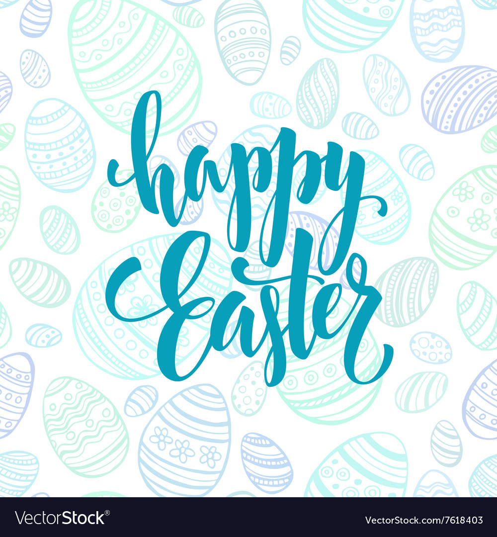 Happy Easter Egg lettering on seamless background