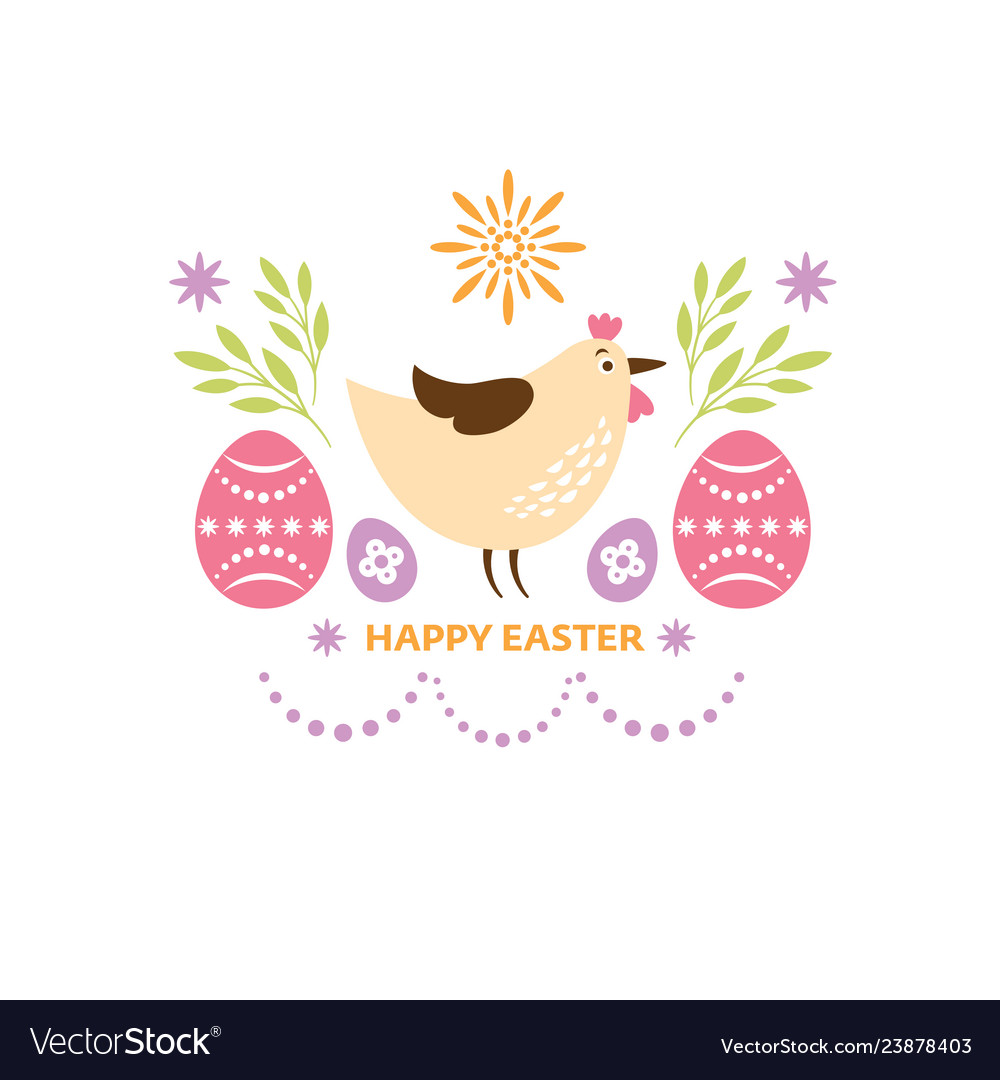 Happy easter greeting card design cute chicken