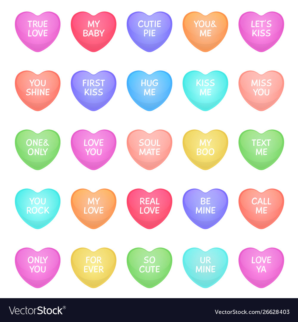 Hearts shape candies cute valentine heart shapes