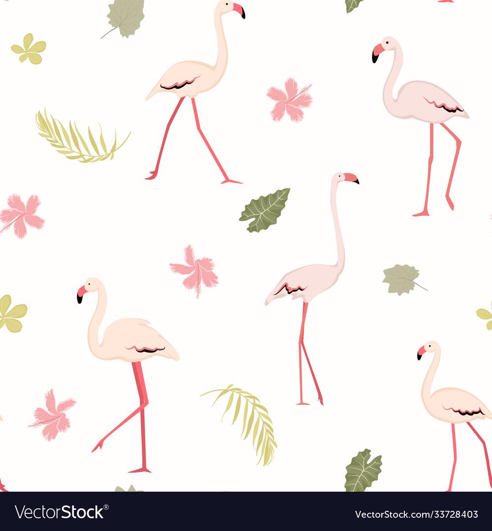 Pink flamingo birds tropical greenery exotic