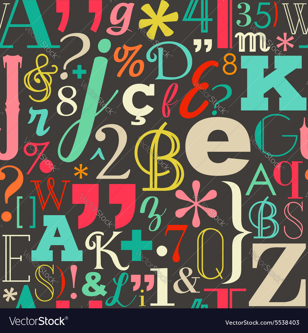 Retro color letters seamless pattern background
