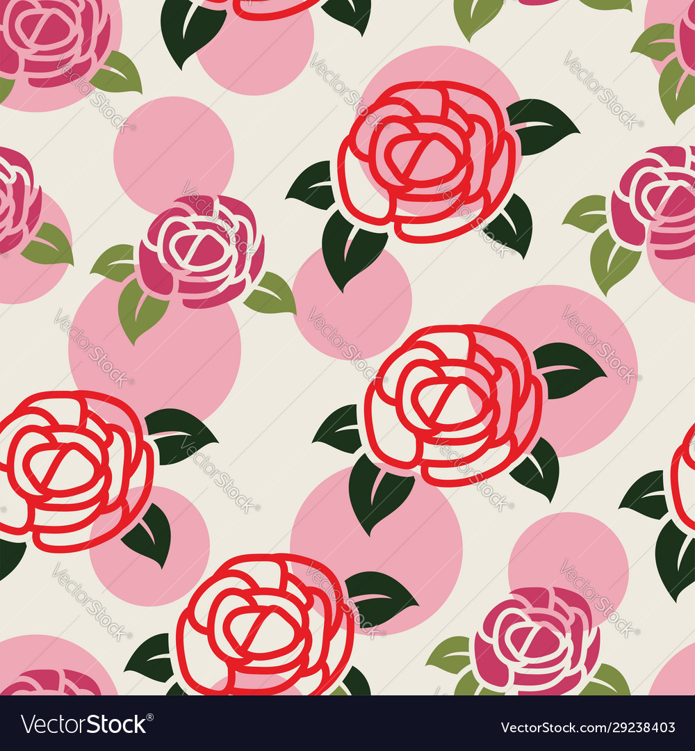 Seamless floral pattern with symbols roses