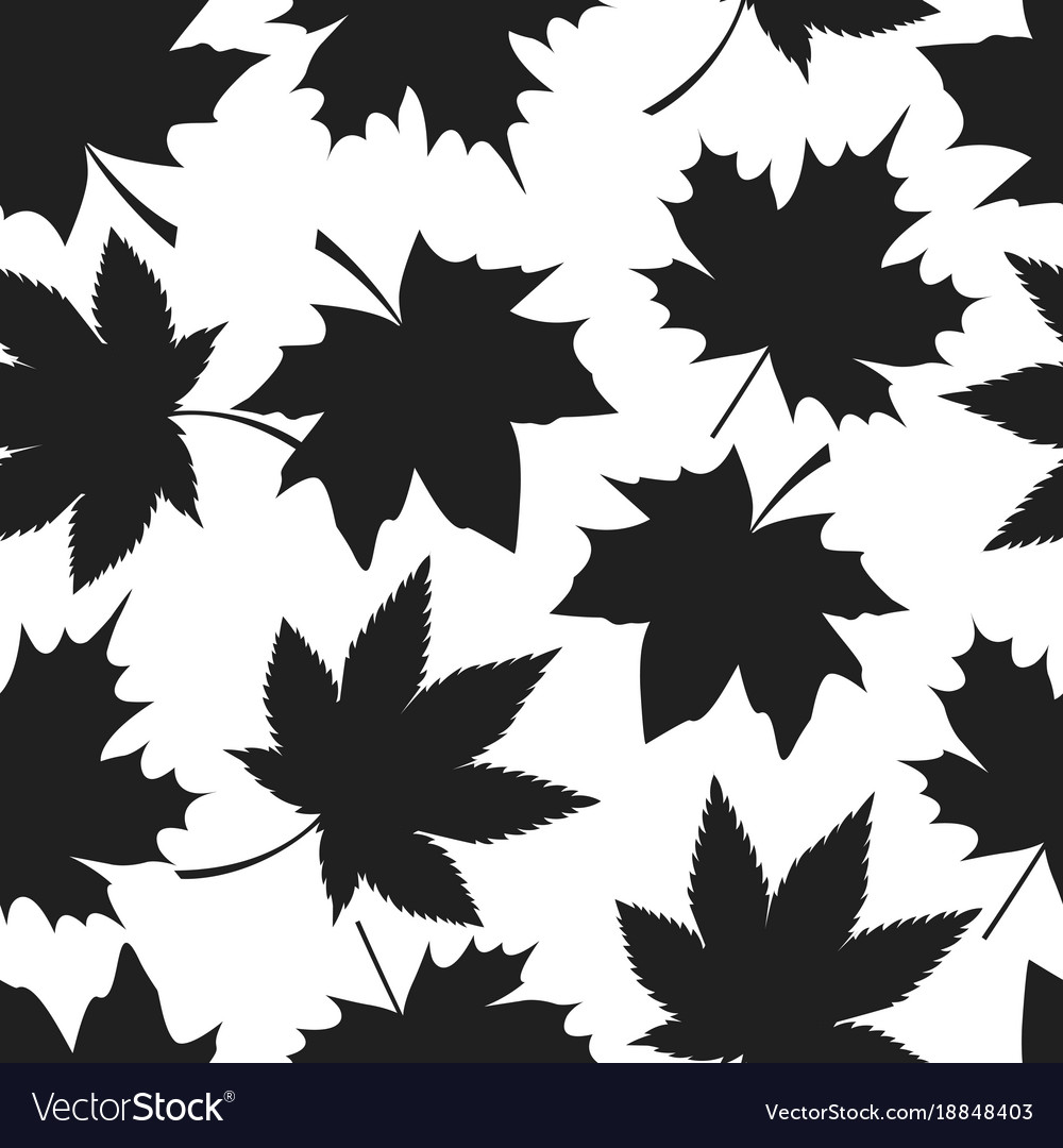 Seamless pattern autumn leaves black silhouettes