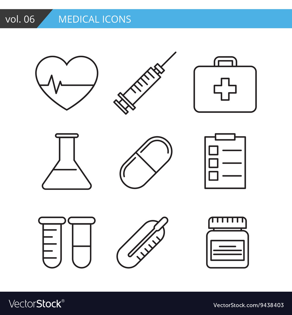 Set medical icons executed in a linear flat