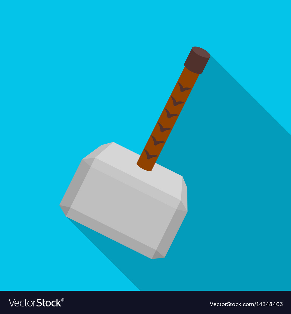 Viking battle hammer icon in flate style isolated