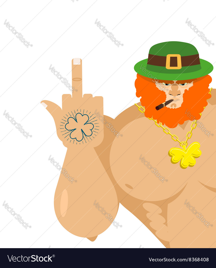 Bad leprechaun shows Old grandfather with vector image