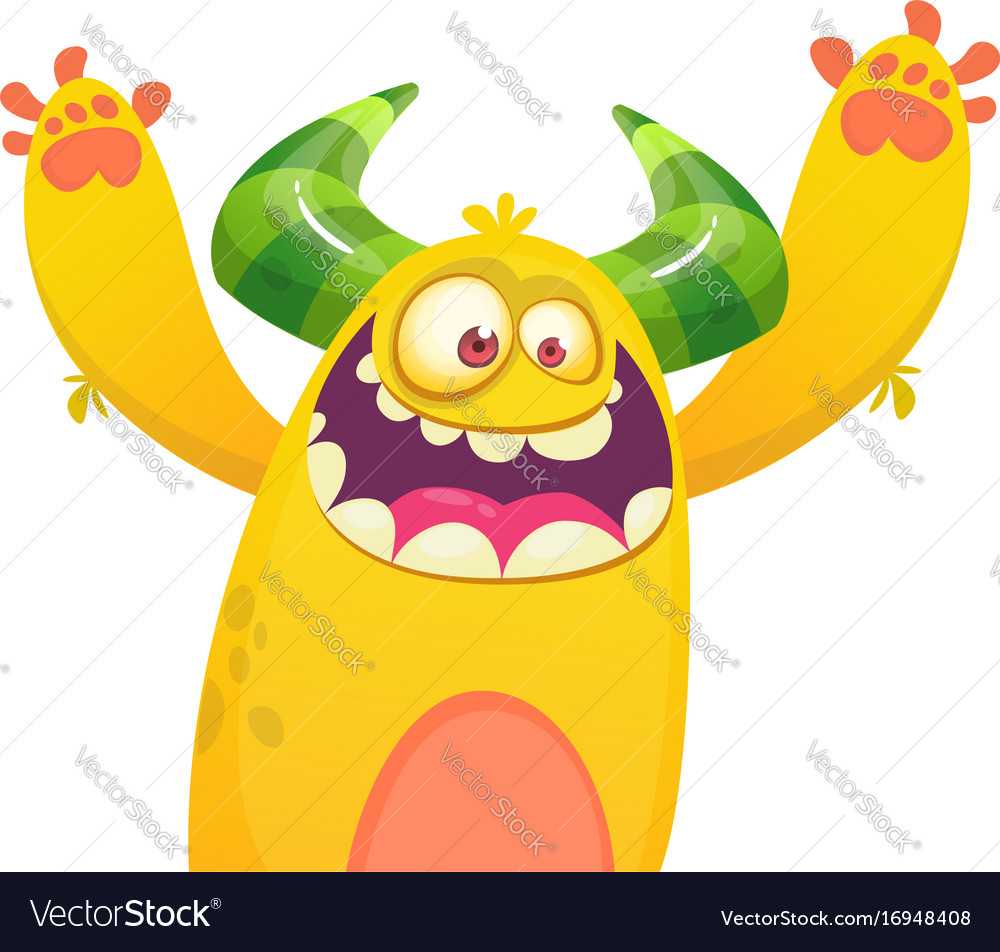 Belly Rumble Furry: Cartoon Yellow Furry Monster Royalty Free Vector Image