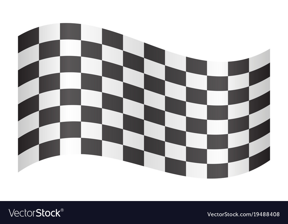 Checkered racing flag waving on white background