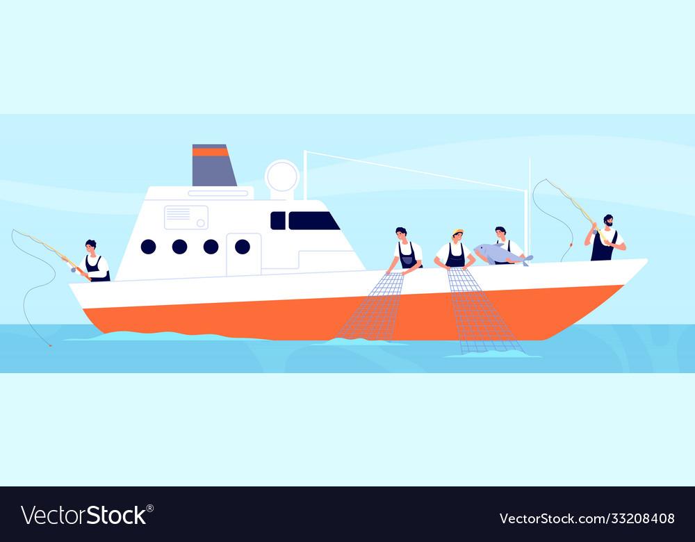 Fishery season fishermen on boat commercial