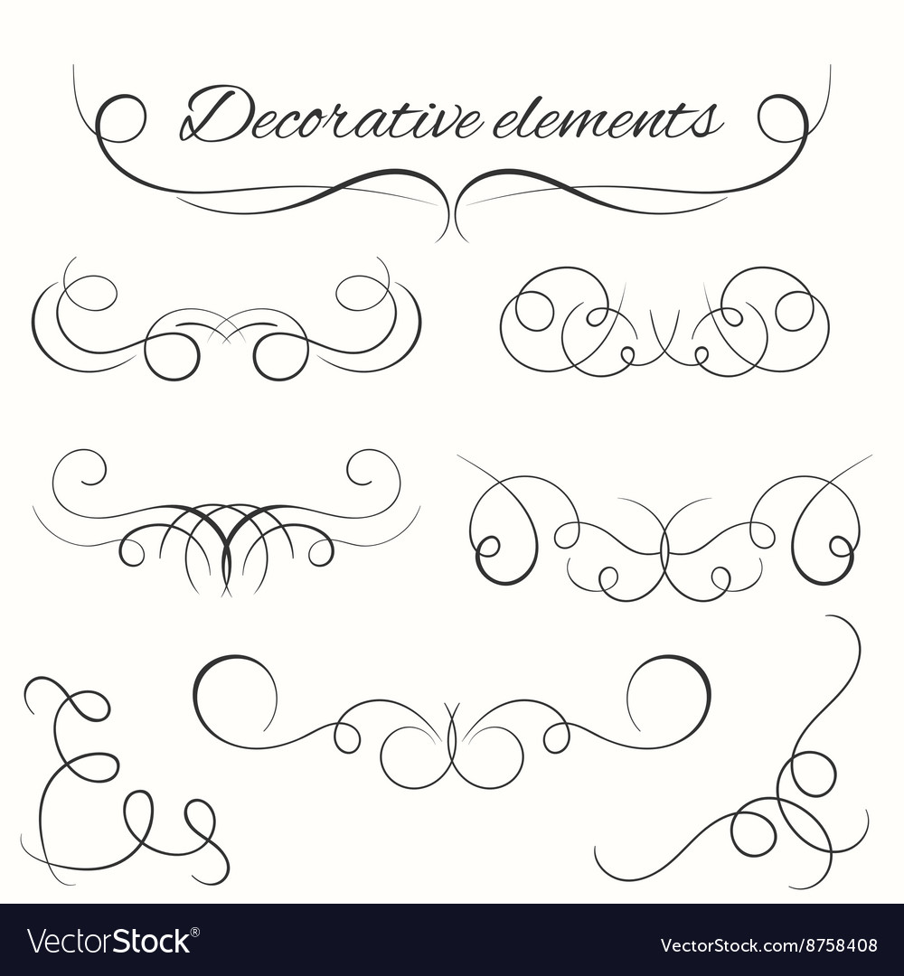 Hand drawn dividers set Decorative borders set vector image