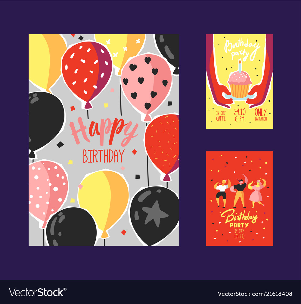 Happy birthday greeting card poster banner
