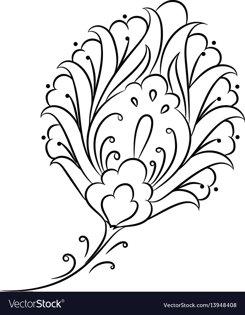 Iznik style floral drawing