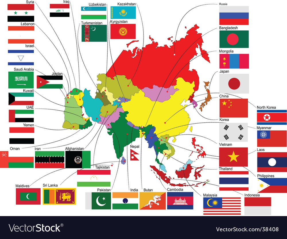Map of asia with flags
