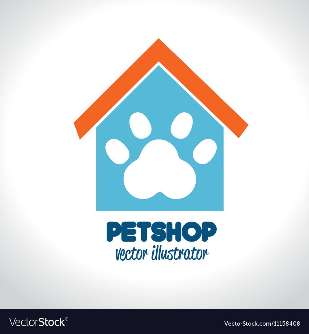 Pet shop concept house paw icon
