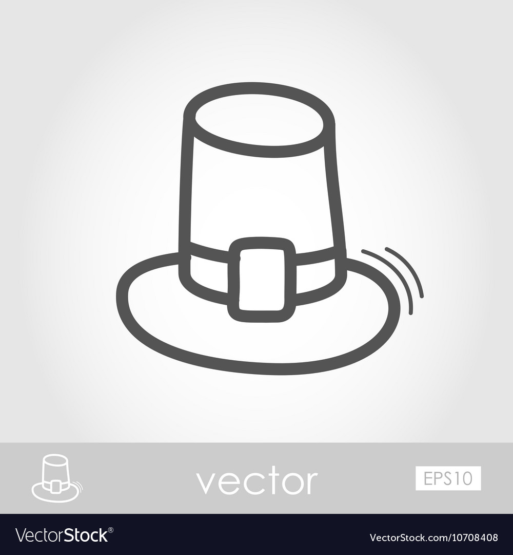 Pilgrim hat outline icon Harvest Thanksgiving vector image