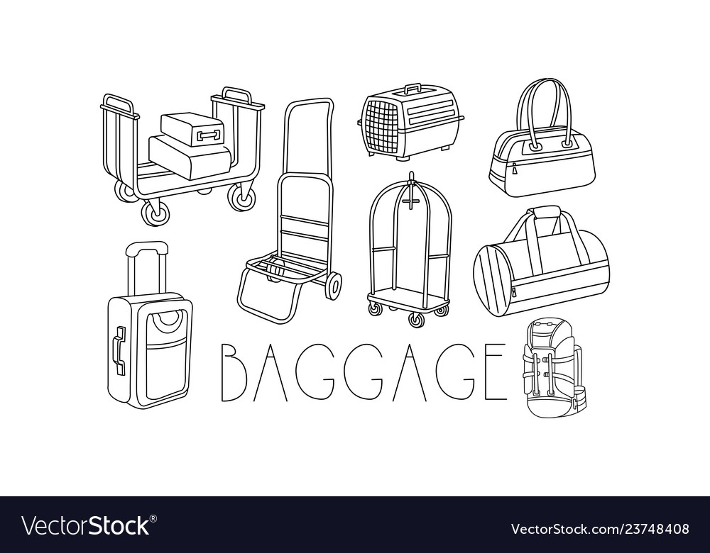 Set of hand drawn travel bags and trolleys