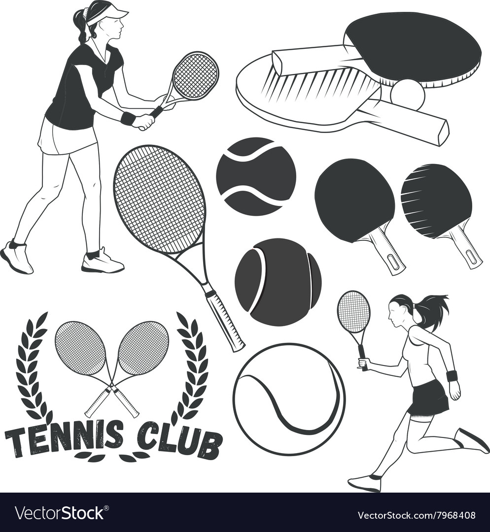 Set of tennis sport labels in vintage style
