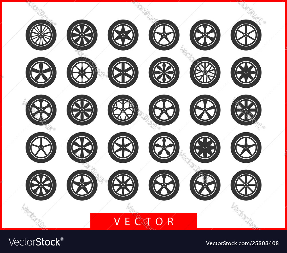 Set tires and wheels disc wheel car icon
