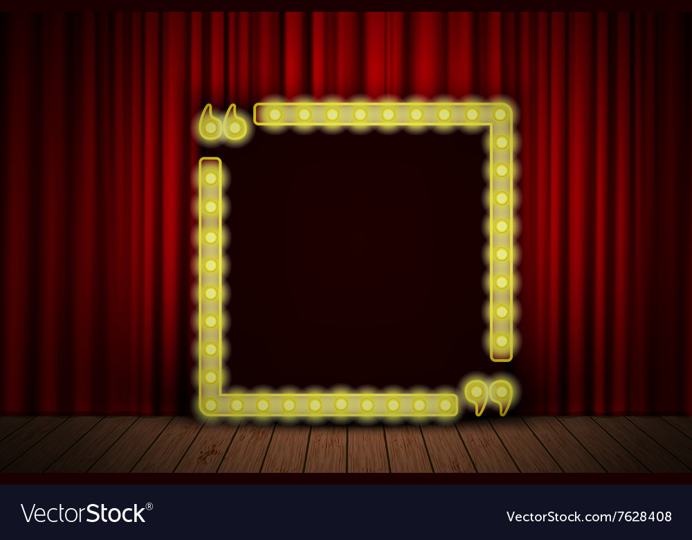 Shining quote banner on stage curtain vector image