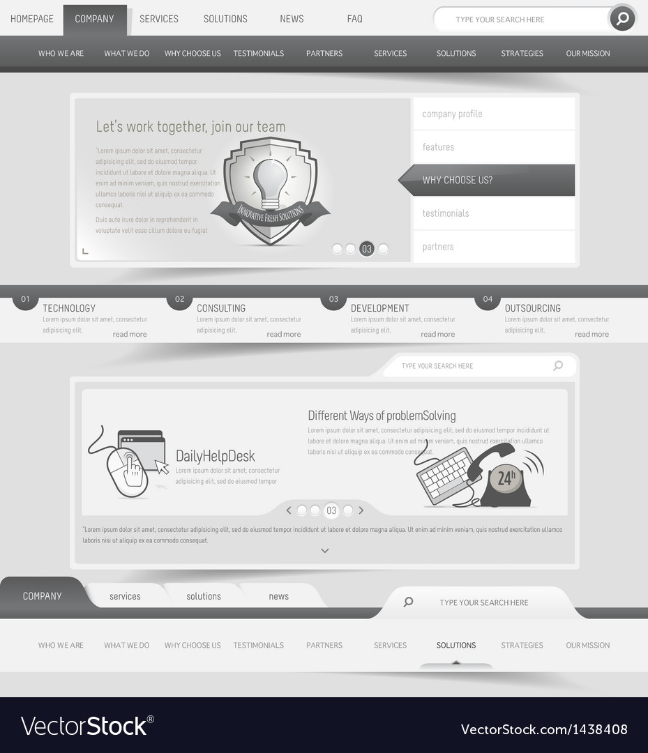 Web site template navigation elements vector image