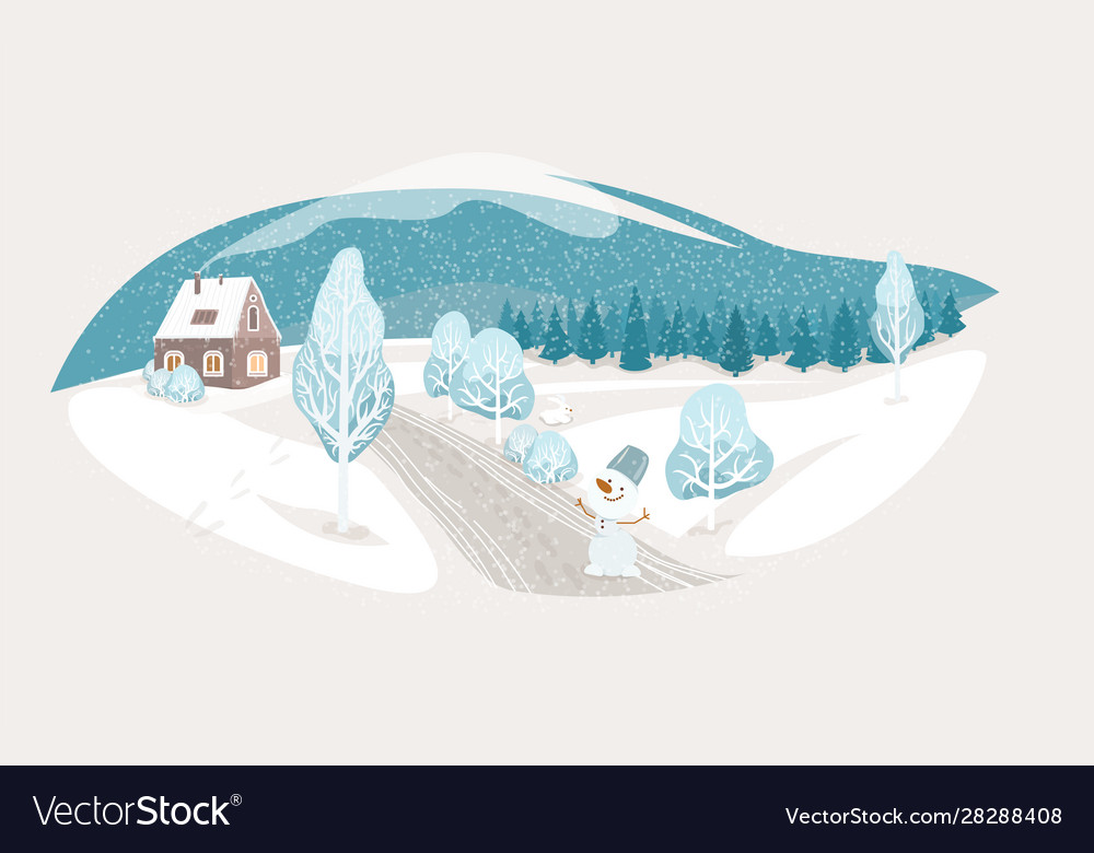 Winter isolated landscape background