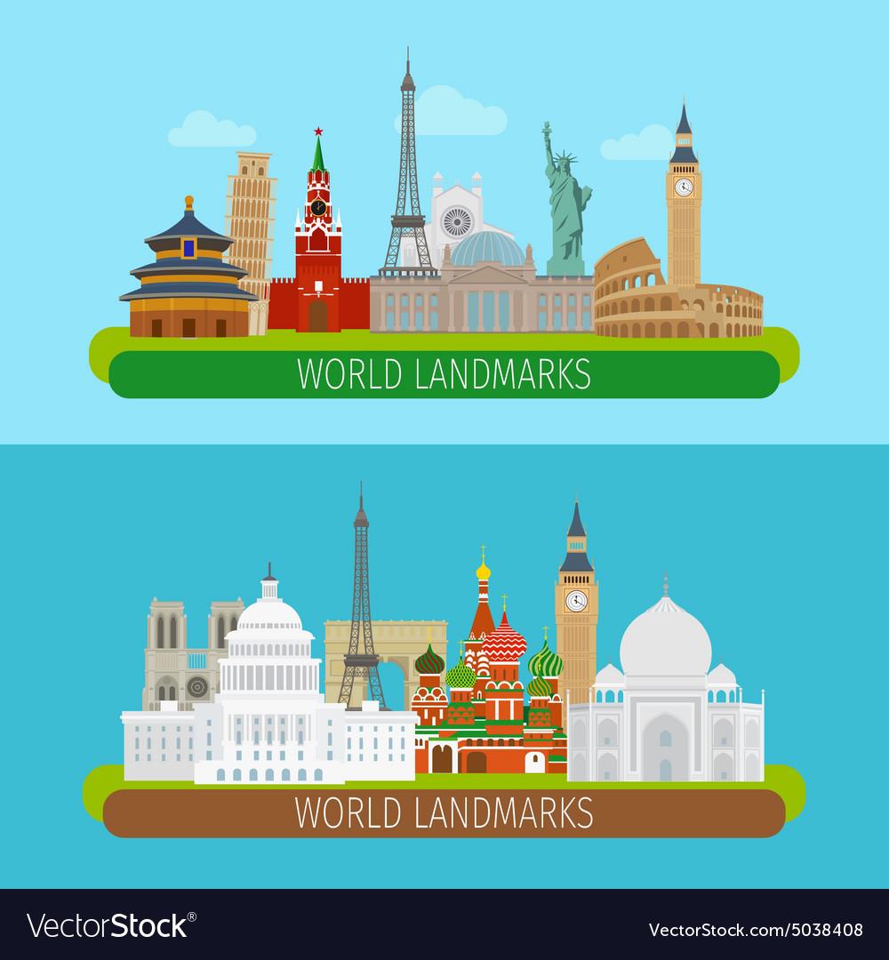 World landmarks banners