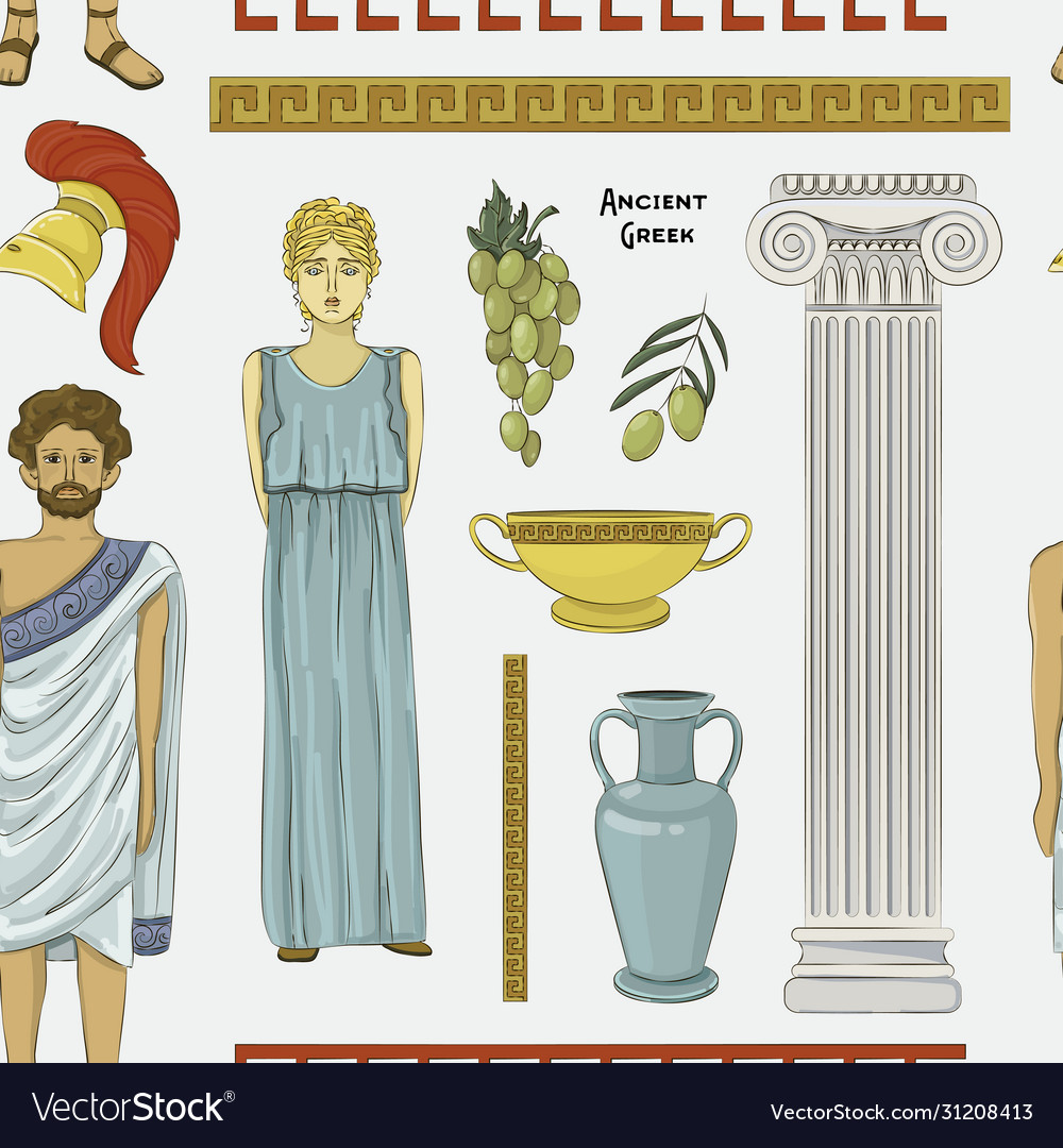 Ancient greek traditional costumes set