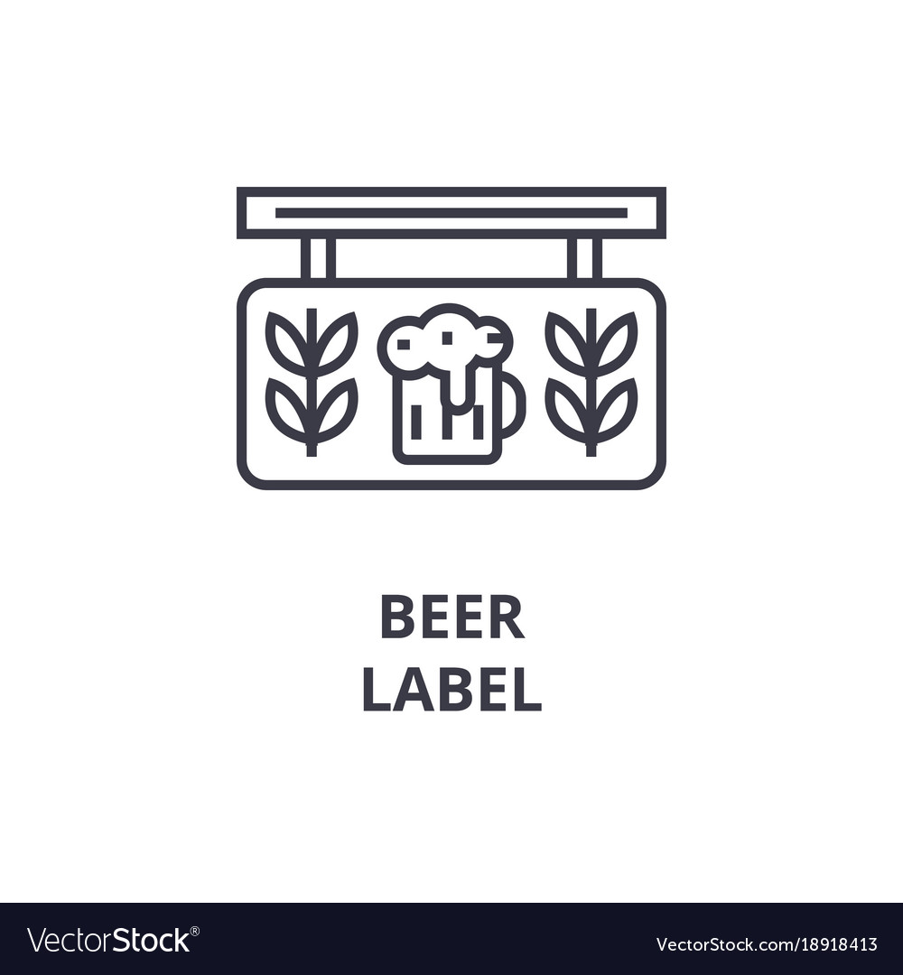 Beer label line icon outline sign linear symbol