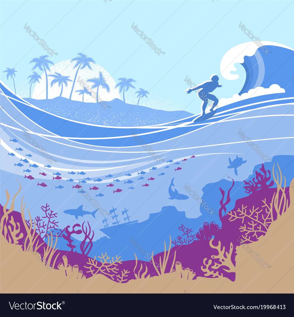 Big ocean wave and tropical island on blue