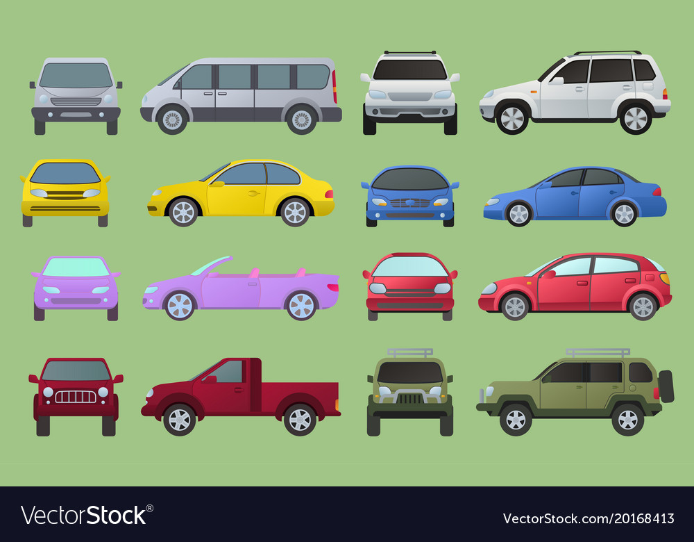 Car city different model objects icons set vector image