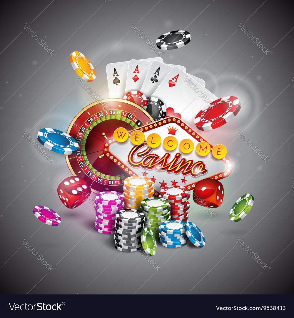 Casino with roulette wheel and chips