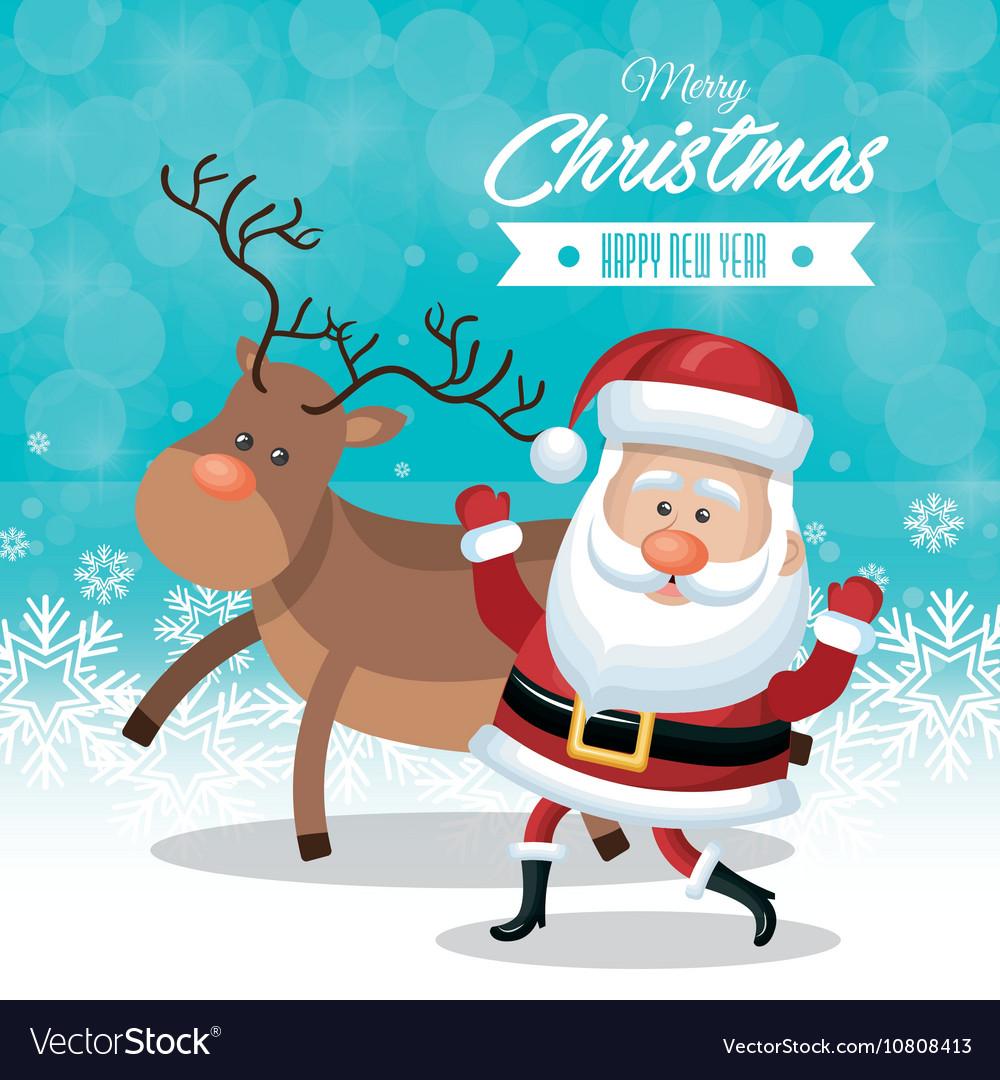 Christmas happy and reindeer snowflake blue