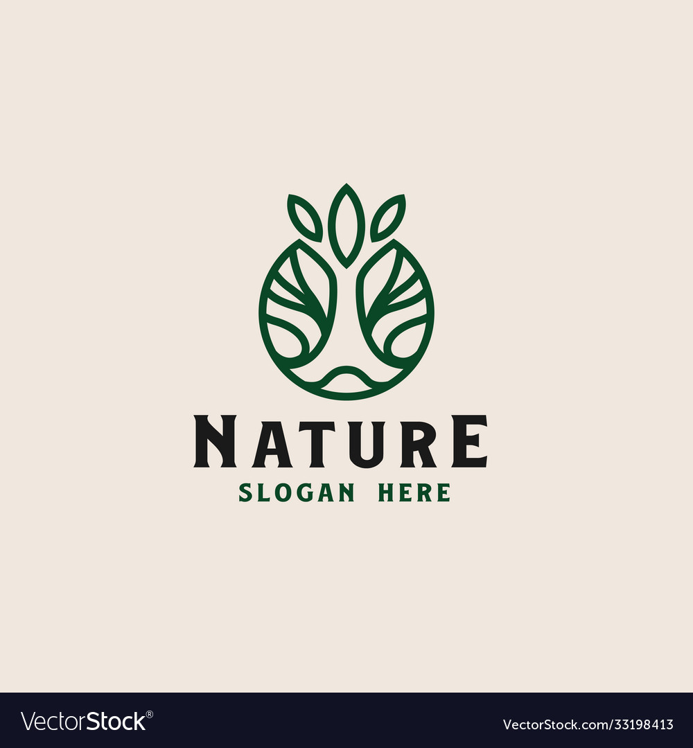 Circle root tree logo template