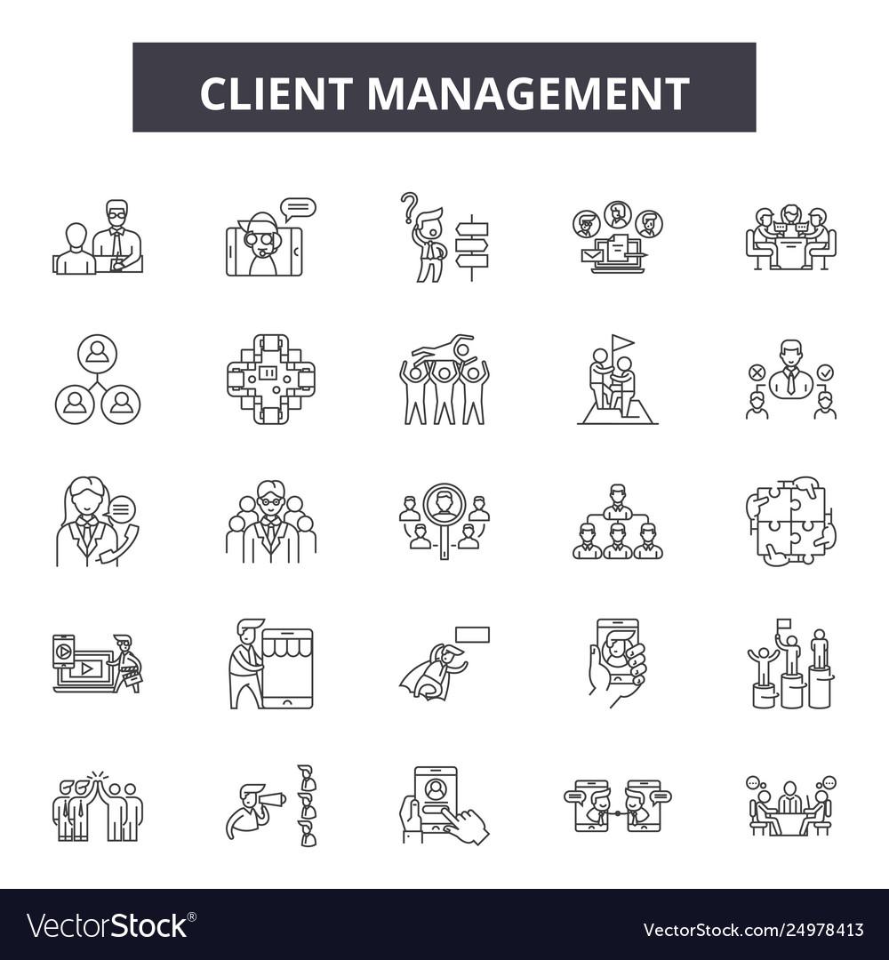Client management line icons signs set