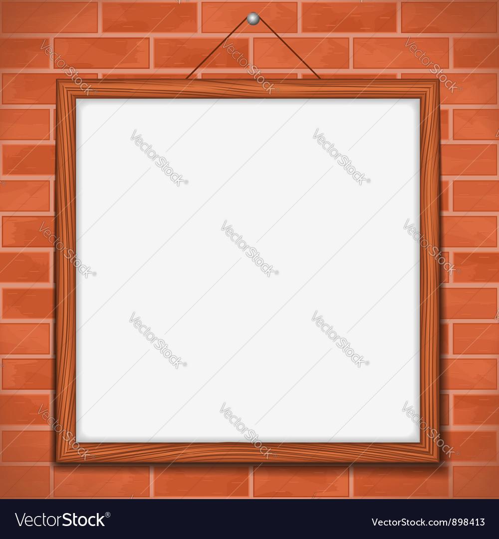 Frame on brick wall vector image