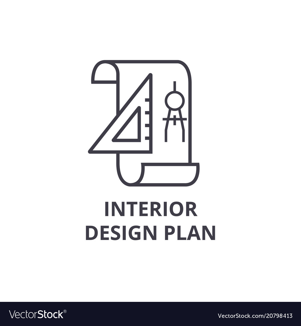 Interior design plan line icon sign vector image